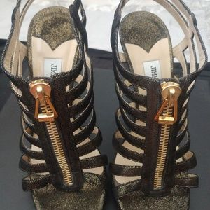 Black/Bronze Metallic Suede Glenys Shimmer Shoes